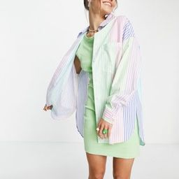 Bershka oversized poplin shirt in multi-colored stripe | ASOS (Global)