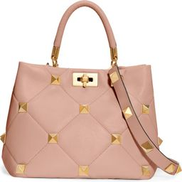 Garavani Roman Stud Matelassé Leather Top Handle Bag | Nordstrom