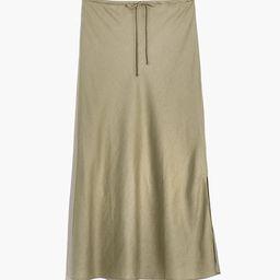 Linen-Blend Drawstring Midi Slip Skirt | Madewell