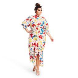 Plus Size Floral Mock Neck Cascade Ruffle Dress - RIXO for Target Cream 24W/26W, Ivory | Target