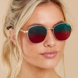 Link Up Gold Blue Sunglasses | Red Dress