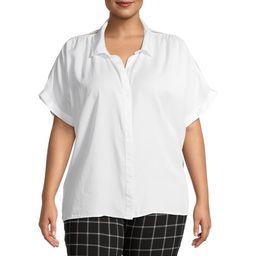 Terra & Sky Women's Plus Size Short Sleeve Button Front Camp Shirt   Walmart (US)