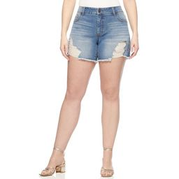 Sofia Jeans by Sofia Vergara Plus Size Lila Mid-Rise Destructed Hem Shorts   Walmart (US)