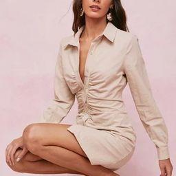 Linen Look Ruched Front Mini Shirt Dress   NastyGal