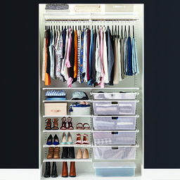 Elfa Classic 4' White Reach-In Clothes Closet | The Container Store