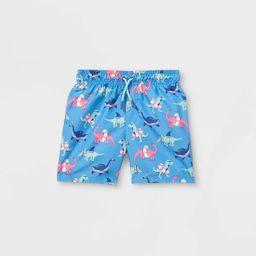 Toddler Boys' Dino Print Swim Trunks - Cat & Jack™ Blue   Target