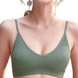 GORRENNO Bralettes for Women Wirefree Bras Camisole Sports Bralette with Removable Padded Backles...   Amazon (US)