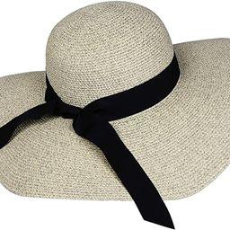 Womens Sun Straw Hat Wide Brim UPF 50 Summer Hat Foldable Roll up Floppy Beach Hats for Women   Amazon (US)
