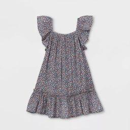 Toddler Girls' Floral Ruffle Sleeve Dress - Cat & Jack™ Blue   Target