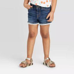 Toddler Girls' Lace Hem Jean Shorts - Cat & Jack™ Dark Wash   Target