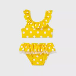 Toddler Girls' 2pc Polka Dot Ruffle Bikini - Cat & Jack™ Yellow   Target