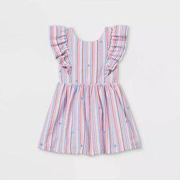 Toddler Girls' Seersucker with Stars Ruffle Sleeve Dress - Cat & Jack™ Red/White/Blue   Target