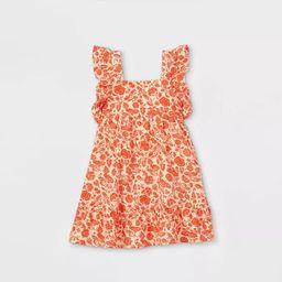 Toddler Girls' Floral Ruffle Sleeve Dress - Cat & Jack™ Red   Target