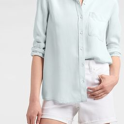 Patch Pocket Denim Boyfriend Shirt | Express