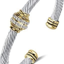 Tiyad Cable Bracelet Stainless Steel Vintage Twisted Wire Composite Open Bangle Bracelet, Adjusta... | Amazon (US)