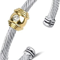 Winhime Designer Brand Inspired Bracelet for Women, Vintage Cable Bangle Bracelets with Diamonds ... | Amazon (US)
