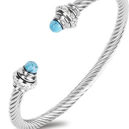 Twist Cuff Bracelets for Women, Stainless Steel Silver Bracelet for Teen Girls, Designer Inspired... | Amazon (US)