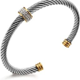 Cable Cuff Bracelets, Dorriss Stainless Steel Twisted Wire Composite Bracelet Bangles, Adjustable... | Amazon (US)