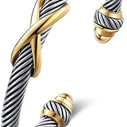 AryaHozel Classic Cuff Bangle Bracelet for Women Men Cable Wire Twisted Vintage Stainless Steel R... | Amazon (US)