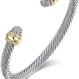 Two Tone Cable Bangle Antique Cuff Bracelet with Zircon Inlaid Ends | Amazon (US)