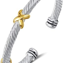 UNY Bracelet Designer Brand Inspired Antique Women Jewelry Cross Cable Wire Bangle Christmas Day ... | Amazon (US)