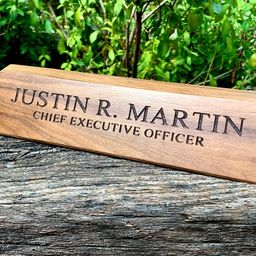 Desk Name Plate, Custom Name Sign, Personalized Wood Desk Name, Customized Walnut Desk Name, Exec... | Etsy (US)