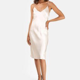 Champagne L'Agence Jodie Slip Dress | Blue & Cream