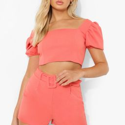 Puff Sleeve Crop & Belted Shorts | Boohoo.com (US & CA)
