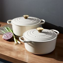 Le Creuset Signature Round Cream Dutch Ovens with Lid | Crate and Barrel | Crate & Barrel
