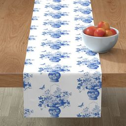 Table Runner Chinoiserie Blue And White Vase Of Flowers Cotton Sateen | Walmart (US)