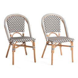 Set Of 2 Indoor Outdoor Diamond Pattern Bistro Chairs   TJ Maxx