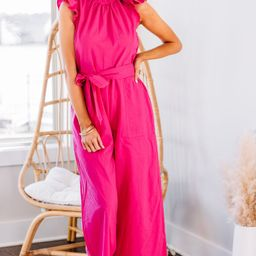 Go With Confidence Hot Pink Ruffled Jumpsuit | The Mint Julep Boutique
