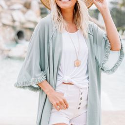 All You Can Do Dusty Mint Linen Kimono | The Mint Julep Boutique