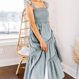 Pleasant Views Sage Green Smocked Midi Dress | The Mint Julep Boutique