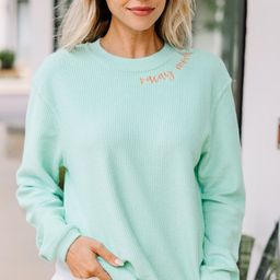 Vacay Mode Mint Green Embroidered Corded Sweatshirt | The Mint Julep Boutique