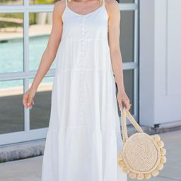 Hold Your Attention White Button Front Maxi Dress | The Mint Julep Boutique