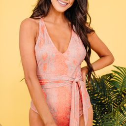 Fierce Adventures Coral Pink Snake Print One Piece   The Mint Julep Boutique
