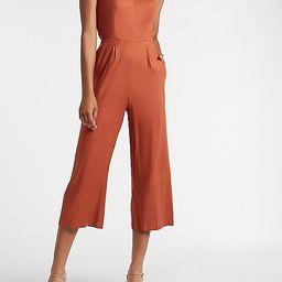 Linen-Blend Square Neck Jumpsuit | Express