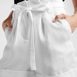Super High Waisted Belted Linen-Blend Cuffed Shorts | Express