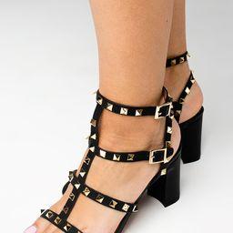 Carol Studded Heel - Black | BuddyLove