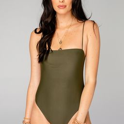 Polly Square Neck One Piece Swimsuit - Olive | BuddyLove