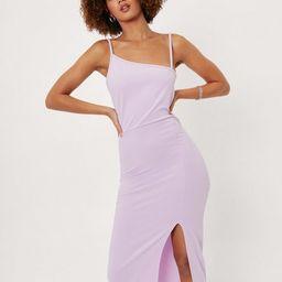 Asymmetric Strap Bodycon Midi Dress   NastyGal