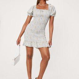 Square Neck Floral Shirred Bodycon Mini Dress   NastyGal