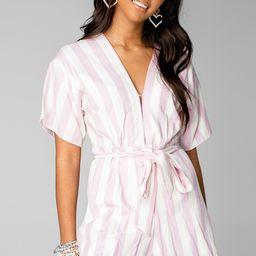 Audrey Short Sleeve Romper - Pink Stripe | BuddyLove