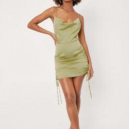 Satin Ruched Side Bodycon Mini Dress   NastyGal