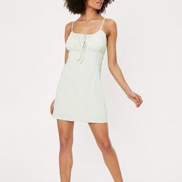Gingham Texture Strappy Cami Mini Dress   NastyGal