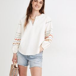 Embroidered-Sleeve Popover Top | Madewell