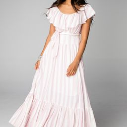 Heather Ruffled Bust Maxi Dress - Pink Stripe | BuddyLove