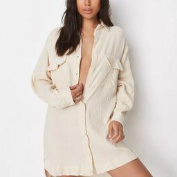 Ecru Linen Look Oversized Shirt Dress   Missguided (US & CA)