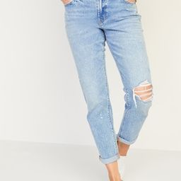 Mid-Rise Boyfriend Straight Ripped Jeans for Women | Old Navy (US)